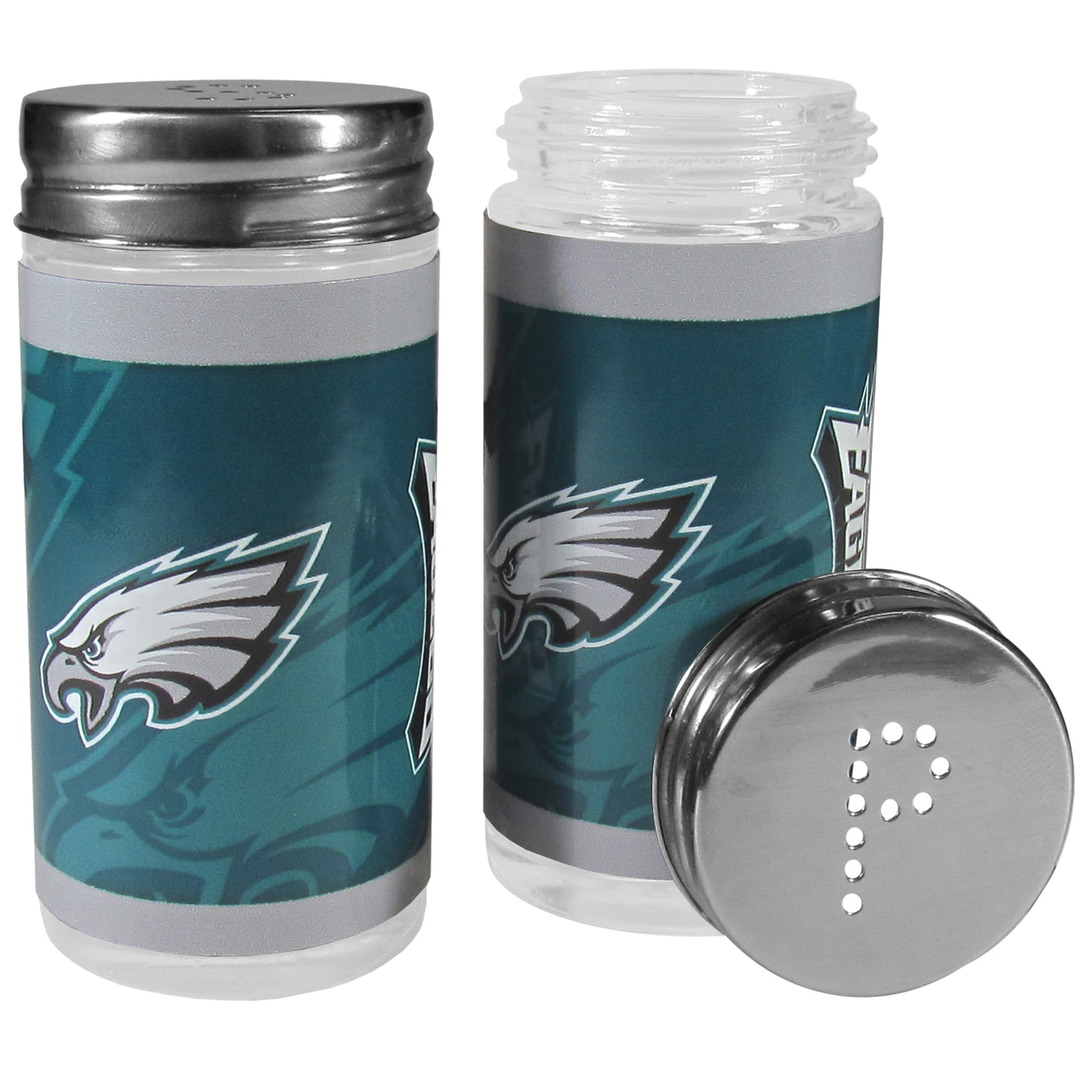 Philadelphia Eagles Tailgater Salt and Pepper Shakers - No tailgate party is complete without your Philadelphia Eagles salt & pepper shakers featuring bright team graphics. The glass shakers are 3.75 inches tall and the screw top lids have holes that spell out P and S. These team shakers are a great grill accessory whether you are barbecuing on the patio, picnicing or having a game day party.