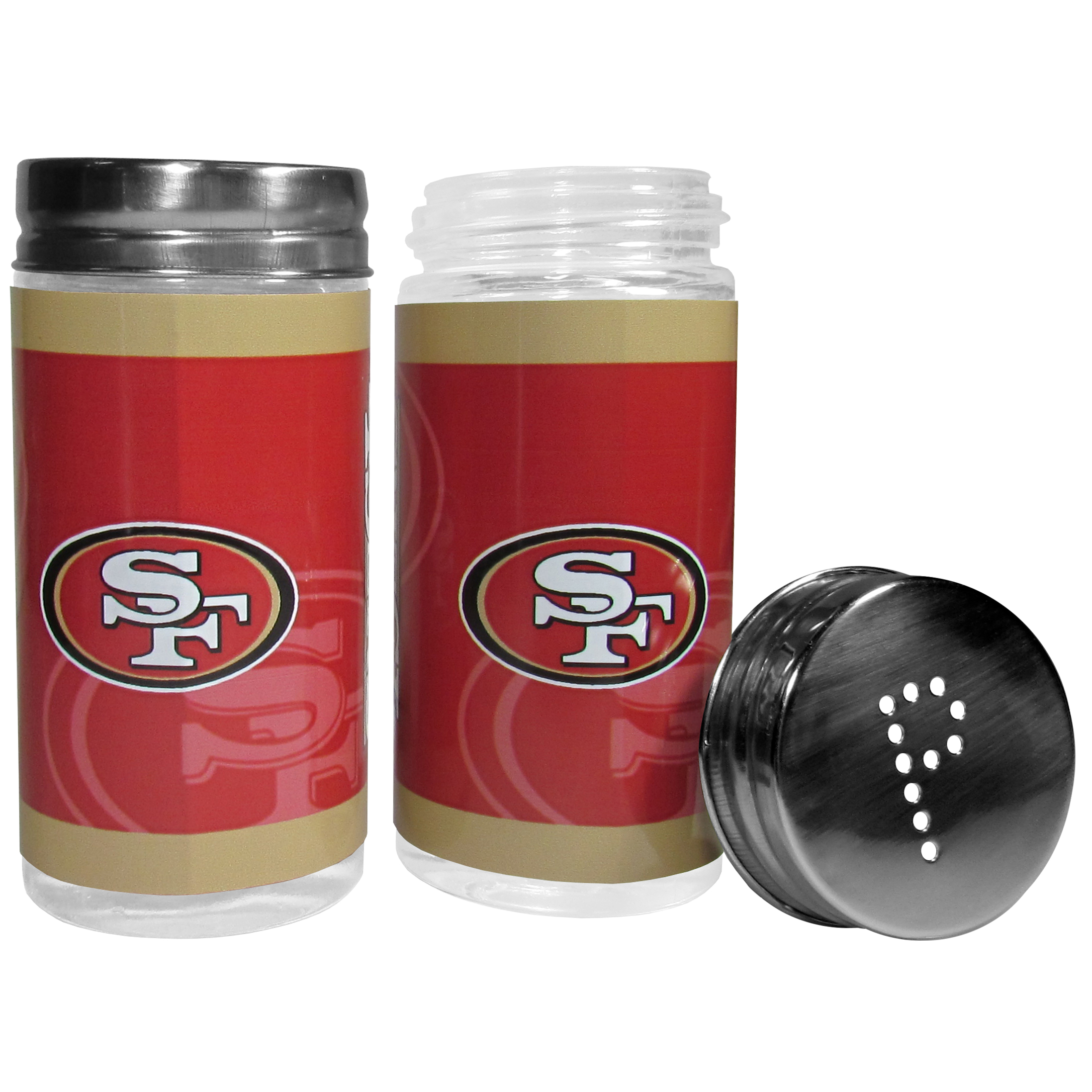 San Francisco 49ers Tailgater Salt & Pepper Shakers - No tailgate party is complete without your San Francisco 49ers salt & pepper shakers featuring bright team graphics. The glass shakers are 3.75 inches tall and the screw top lids have holes that spell out P and S. These team shakers are a great grill accessory whether you are barbecuing on the patio, picnicing or having a game day party.