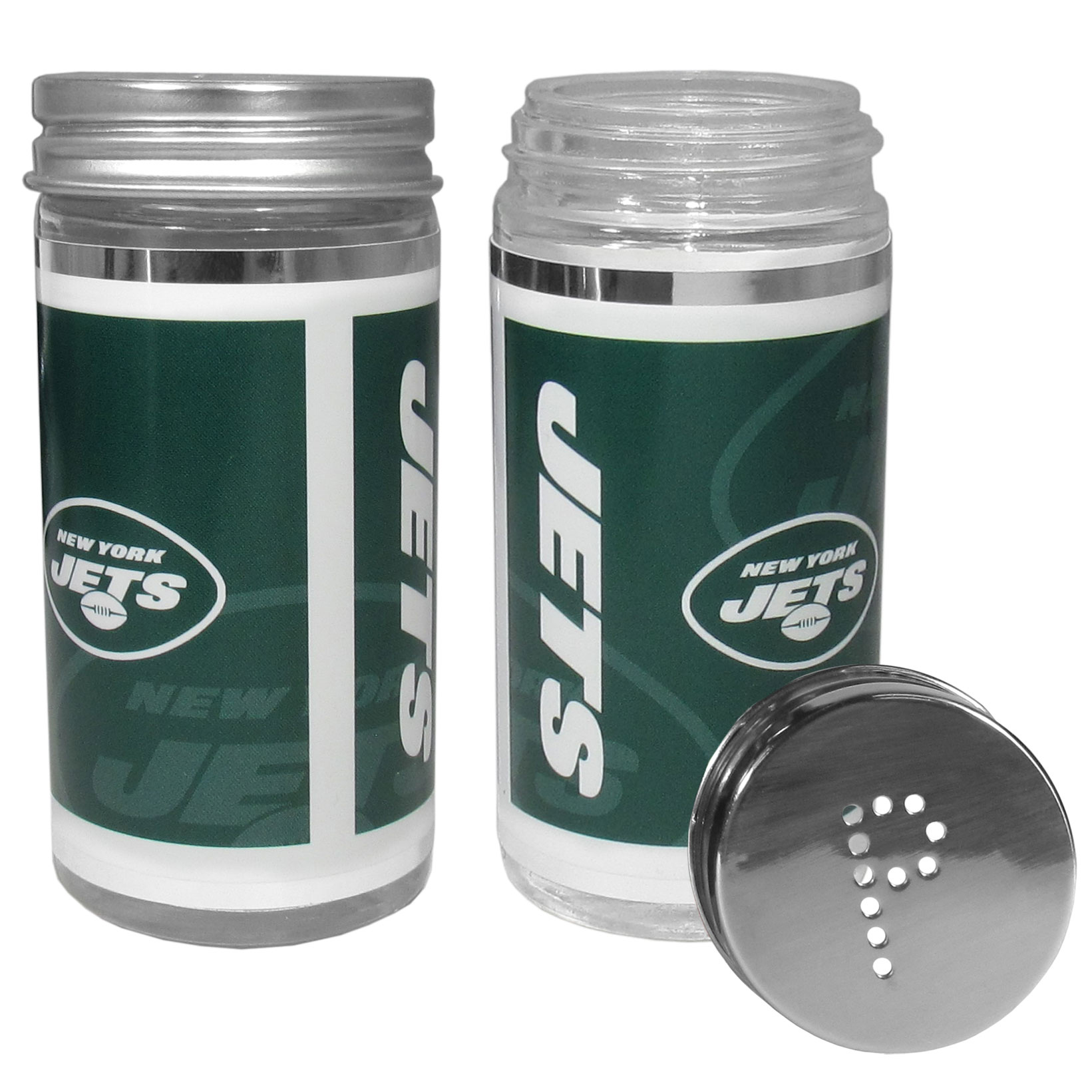 New York Jets Tailgater Salt & Pepper Shakers - No tailgate party is complete without your New York Jets salt & pepper shakers featuring bright team graphics. The glass shakers are 3.75 inches tall and the screw top lids have holes that spell out P and S. These team shakers are a great grill accessory whether you are barbecuing on the patio, picnicing or having a game day party.