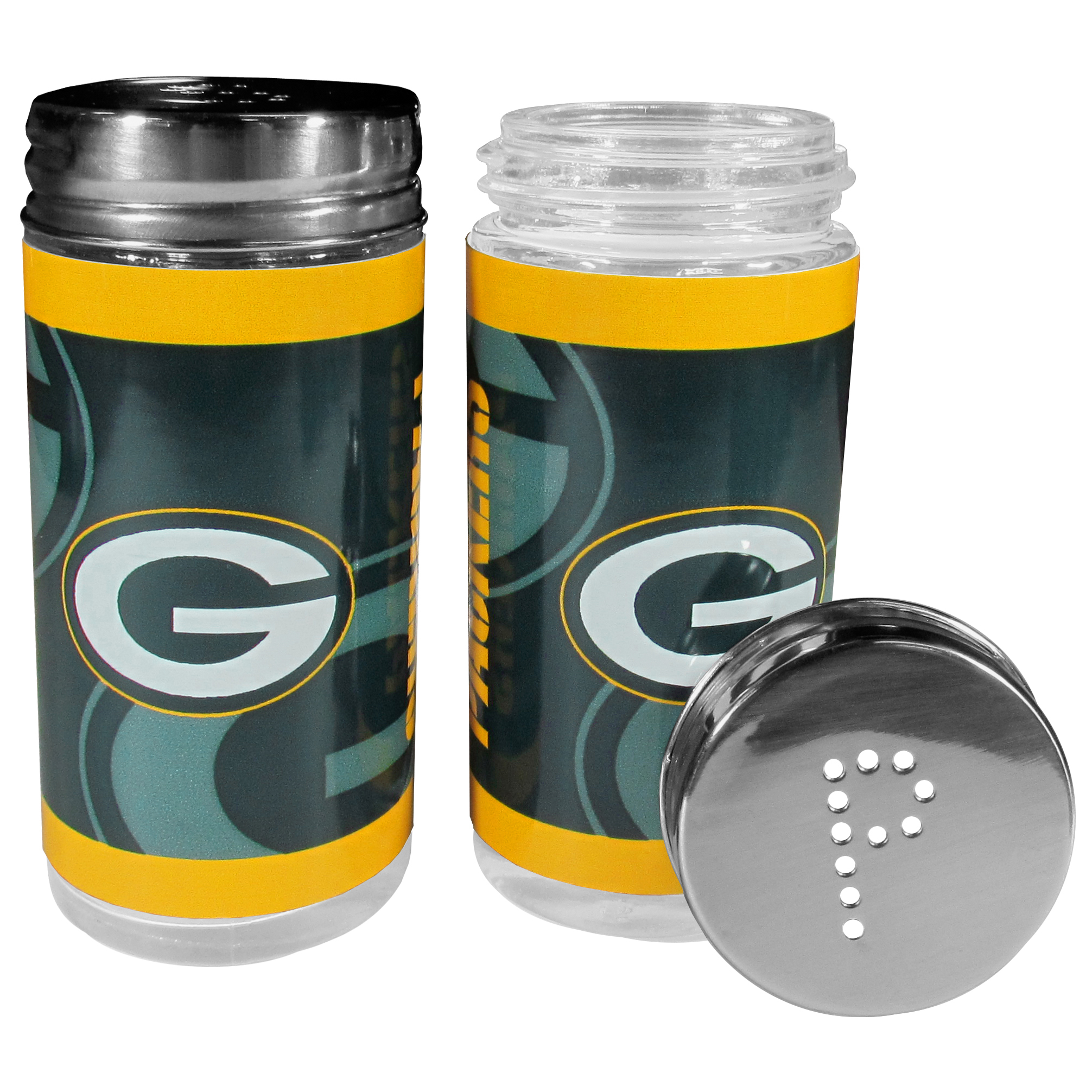 Green Bay Packers Tailgater Salt & Pepper Shakers - No tailgate party is complete without your Green Bay Packers salt & pepper shakers featuring bright team graphics. The glass shakers are 3.75 inches tall and the screw top lids have holes that spell out P and S. These team shakers are a great grill accessory whether you are barbecuing on the patio, picnicing or having a game day party.