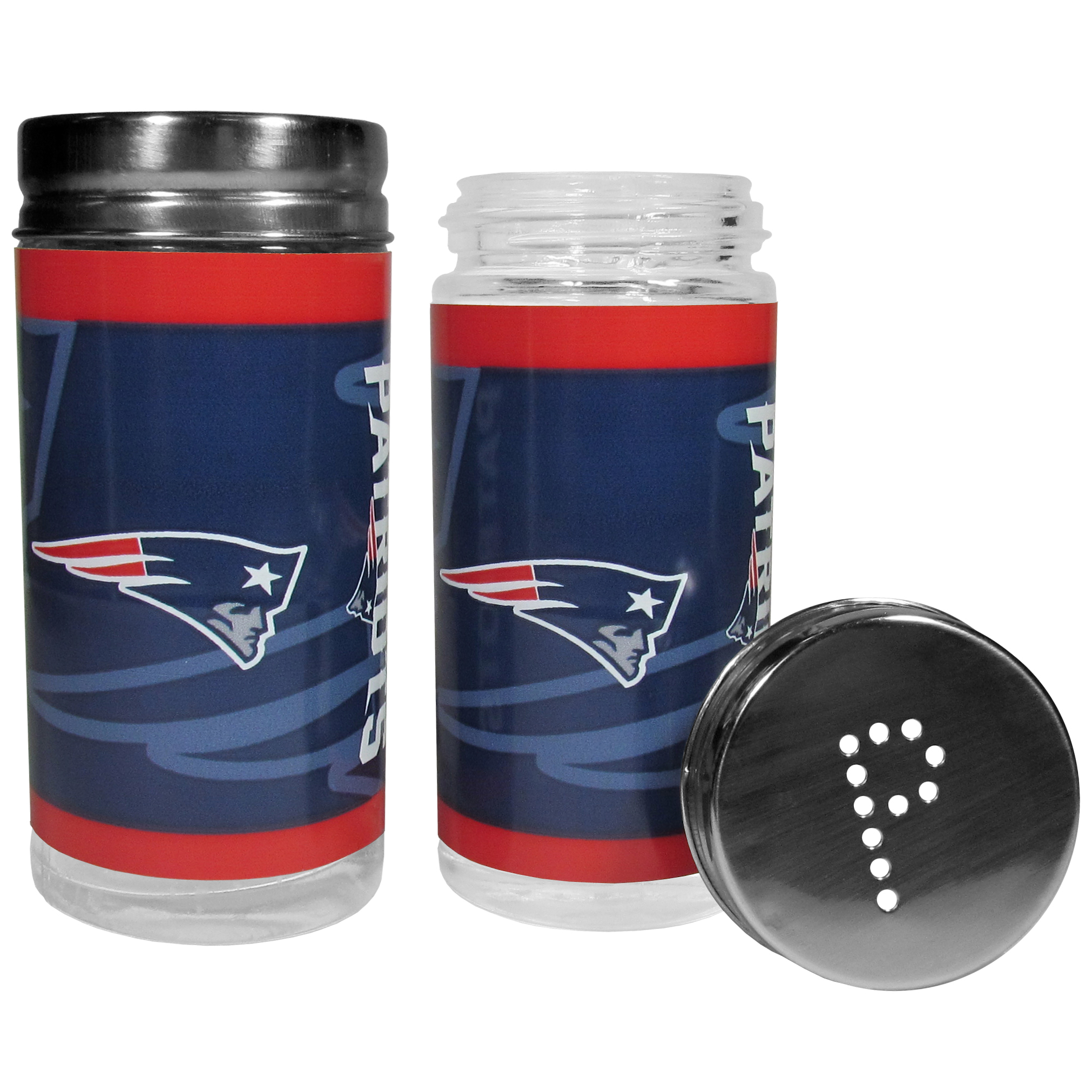 New England Patriots Tailgater Salt & Pepper Shakers - No tailgate party is complete without your New England Patriots salt & pepper shakers featuring bright team graphics. The glass shakers are 3.75 inches tall and the screw top lids have holes that spell out P and S. These team shakers are a great grill accessory whether you are barbecuing on the patio, picnicing or having a game day party.