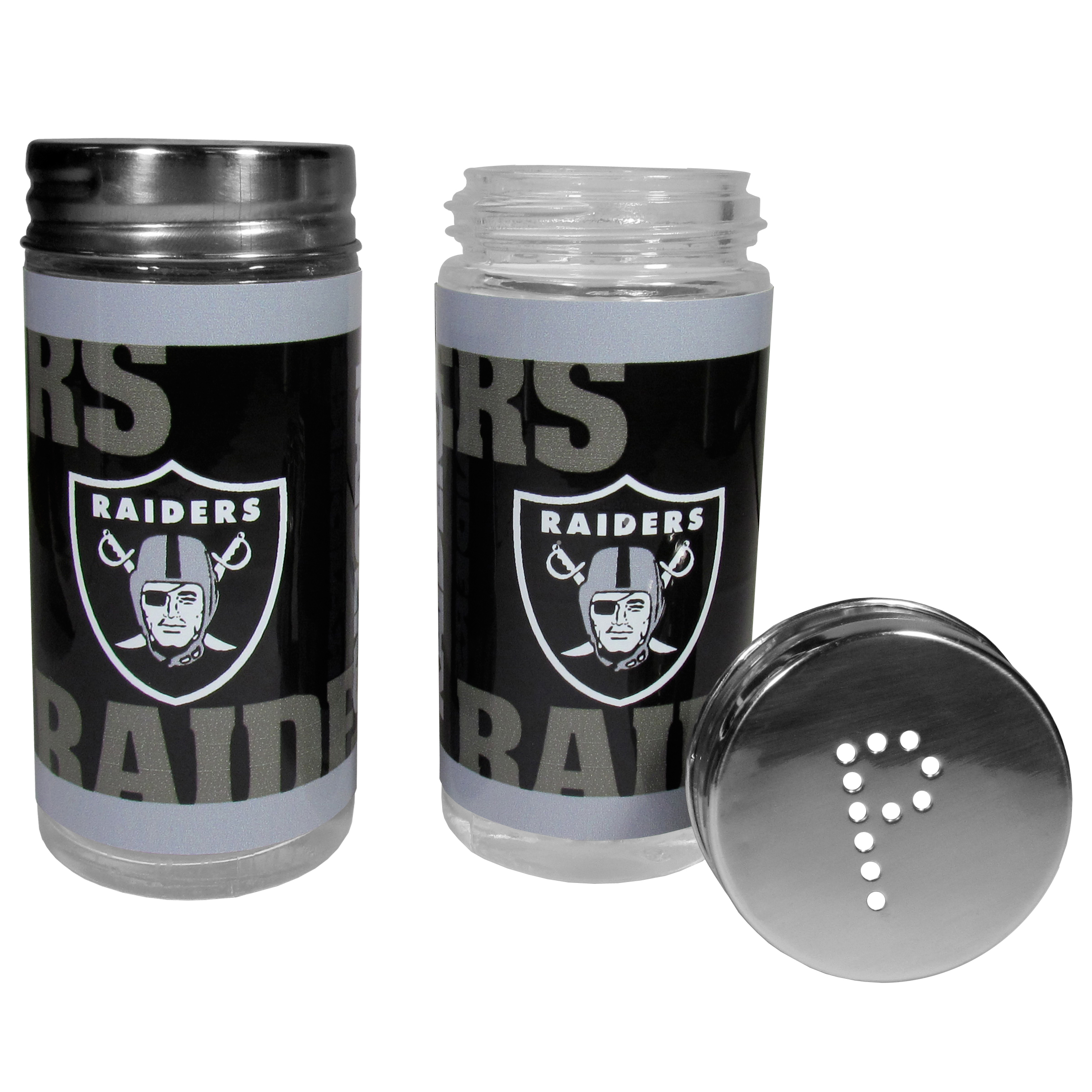 Oakland Raiders Tailgater Salt & Pepper Shakers - No tailgate party is complete without your Oakland Raiders salt & pepper shakers featuring bright team graphics. The glass shakers are 3.75 inches tall and the screw top lids have holes that spell out P and S. These team shakers are a great grill accessory whether you are barbecuing on the patio, picnicing or having a game day party.