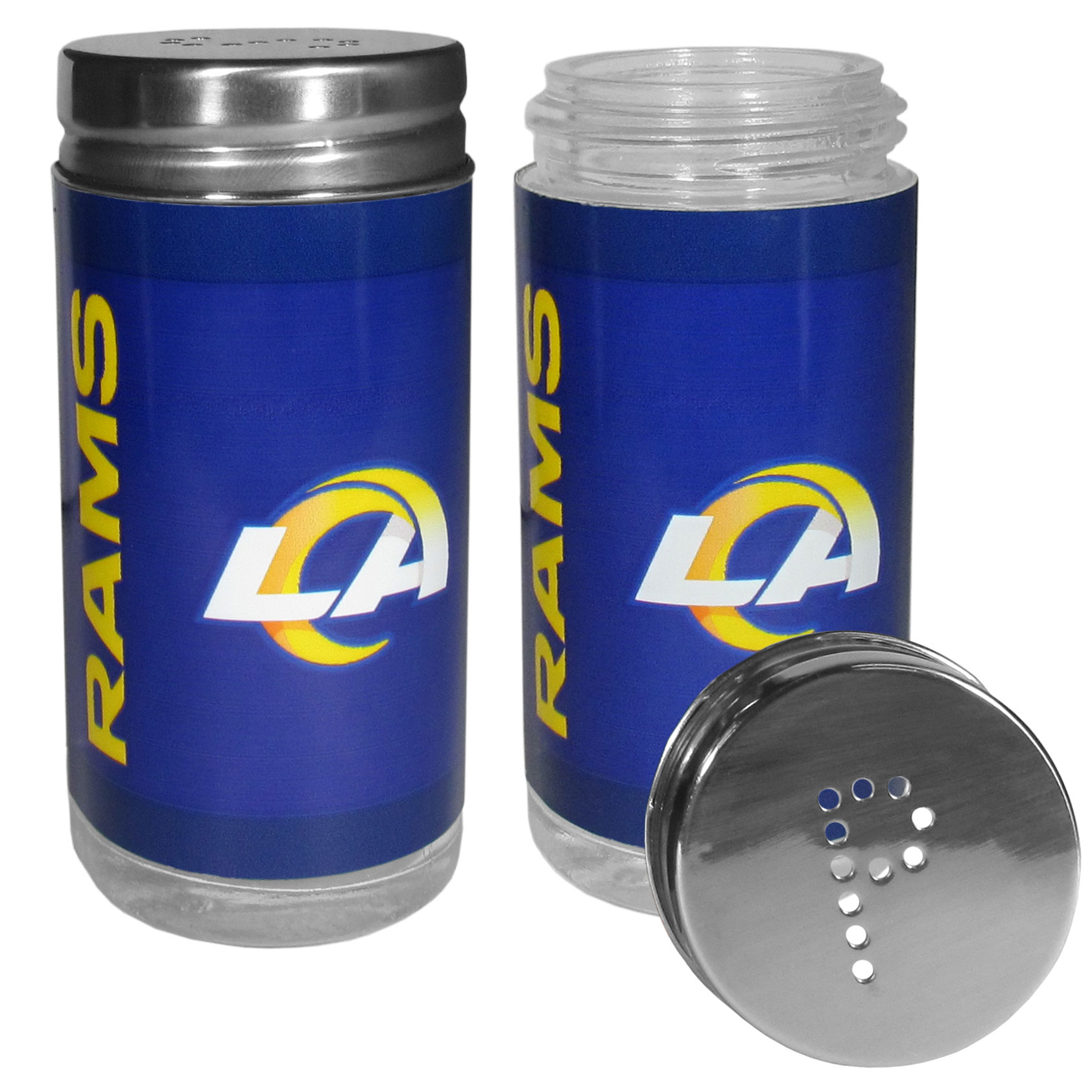 Los Angeles Rams Tailgater Salt & Pepper Shakers - No tailgate party is complete without your Los Angeles Rams salt & pepper shakers featuring bright team graphics. The glass shakers are 3.75 inches tall and the screw top lids have holes that spell out P and S. These team shakers are a great grill accessory whether you are barbecuing on the patio, picnicing or having a game day party.