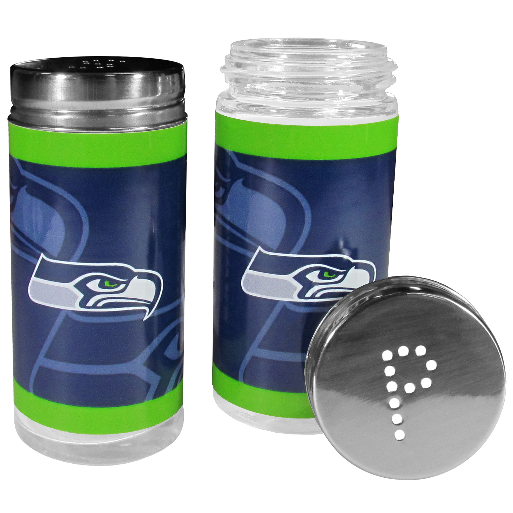 Seattle Seahawks Tailgater Salt and Pepper Shakers - No tailgate party is complete without your Seattle Seahawks salt & pepper shakers featuring bright team graphics. The glass shakers are 3.75 inches tall and the screw top lids have holes that spell out P and S. These team shakers are a great grill accessory whether you are barbecuing on the patio, picnicing or having a game day party.