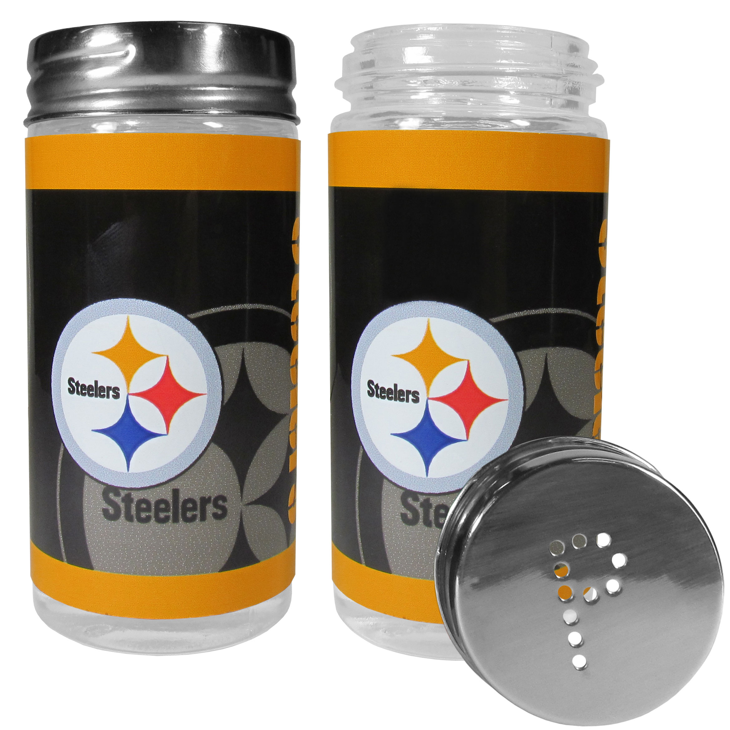 Pittsburgh Steelers Tailgater Salt and Pepper Shakers - No tailgate party is complete without your Pittsburgh Steelers salt & pepper shakers featuring bright team graphics. The glass shakers are 3.75 inches tall and the screw top lids have holes that spell out P and S. These team shakers are a great grill accessory whether you are barbecuing on the patio, picnicing or having a game day party.