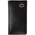 Chicago Bears Tall Leather Wallet - Our officially licensed tall leather wallet cover is made of high quality leather with a fully cast metal Chicago Bearsemblem with enameled team color detail. The cover fits both side and top loaded checks and includes a large zippered pocket, windowed ID slot, numerous credit card slots and billfold pocket. Officially licensed NFL product Licensee: Siskiyou Buckle .com