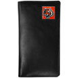 Cincinnati Bengals  Tall Leather Wallet - Our officially licensed tall leather wallet cover is made of high quality leather with a fully cast metal Cincinnati Bengals emblem with enameled team color detail. The cover fits both side and top loaded checks and includes a large zippered pocket, windowed ID slot, numerous credit card slots and billfold pocket. Officially licensed NFL product Licensee: Siskiyou Buckle .com