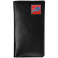 Buffalo Bills  Tall Leather Wallet - Our officially licensed tall leather wallet cover is made of high quality leather with a fully cast metal Buffalo Bills emblem with enameled team color detail. The cover fits both side and top loaded checks and includes a large zippered pocket, windowed ID slot, numerous credit card slots and billfold pocket. Officially licensed NFL product Licensee: Siskiyou Buckle .com