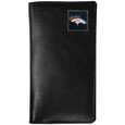 Denver Broncos Tall Leather Wallet - Our officially licensed tall leather wallet cover is made of high quality leather with a fully cast metal Denver Broncosemblem with enameled team color detail. The cover fits both side and top loaded checks and includes a large zippered pocket, windowed ID slot, numerous credit card slots and billfold pocket. Officially licensed NFL product Licensee: Siskiyou Buckle Thank you for visiting CrazedOutSports.com