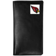 Arizona Cardinals Tall Leather Wallet - Our officially licensed tall leather wallet cover is made of high quality leather with a fully cast metal Arizona Cardinalsemblem with enameled team color detail. The cover fits both side and top loaded checks and includes a large zippered pocket, windowed ID slot, numerous credit card slots and billfold pocket. Officially licensed NFL product Licensee: Siskiyou Buckle .com