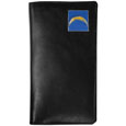 San Diego Chargers Tall Leather Wallet - Our officially licensed tall leather wallet cover is made of high quality leather with a fully cast metal San Diego Chargersemblem with enameled team color detail. The cover fits both side and top loaded checks and includes a large zippered pocket, windowed ID slot, numerous credit card slots and billfold pocket. Officially licensed NFL product Licensee: Siskiyou Buckle .com