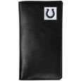 Indianapolis Colts Tall Leather Wallet - Our officially licensed tall leather wallet cover is made of high quality leather with a fully cast metal Indianapolis Coltsemblem with enameled team color detail. The cover fits both side and top loaded checks and includes a large zippered pocket, windowed ID slot, numerous credit card slots and billfold pocket. Officially licensed NFL product Licensee: Siskiyou Buckle Thank you for visiting CrazedOutSports.com