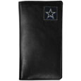 Dallas Cowboys Tall Leather Wallet - Our officially licensed tall leather wallet cover is made of high quality leather with a fully cast metal Dallas Cowboysemblem with enameled team color detail. The cover fits both side and top loaded checks and includes a large zippered pocket, windowed ID slot, numerous credit card slots and billfold pocket. Officially licensed NFL product Licensee: Siskiyou Buckle .com