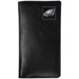 Philadelphia Eagles Tall Leather Wallet - Our officially licensed tall leather wallet cover is made of high quality leather with a fully cast metal Philadelphia Eaglesemblem with enameled team color detail. The cover fits both side and top loaded checks and includes a large zippered pocket, windowed ID slot, numerous credit card slots and billfold pocket. Officially licensed NFL product Licensee: Siskiyou Buckle .com