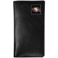 San Francisco 49ers Tall Leather Wallet - Our officially licensed tall leather wallet cover is made of high quality leather with a fully cast metal San Francisco 49ersemblem with enameled team color detail. The cover fits both side and top loaded checks and includes a large zippered pocket, windowed ID slot, numerous credit card slots and billfold pocket. Officially licensed NFL product Licensee: Siskiyou Buckle .com
