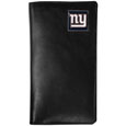 New York Giants Tall Leather Wallet - Our officially licensed tall leather wallet cover is made of high quality leather with a fully cast metal New York Giantsemblem with enameled team color detail. The cover fits both side and top loaded checks and includes a large zippered pocket, windowed ID slot, numerous credit card slots and billfold pocket. Officially licensed NFL product Licensee: Siskiyou Buckle .com