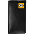 Green Bay Packers Tall Leather Wallet - Our officially licensed tall leather wallet cover is made of high quality leather with a fully cast metal Green Bay Packersemblem with enameled team color detail. The cover fits both side and top loaded checks and includes a large zippered pocket, windowed ID slot, numerous credit card slots and billfold pocket. Officially licensed NFL product Licensee: Siskiyou Buckle .com