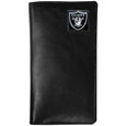 Oakland Raiders Tall Leather Wallet - Our officially licensed tall leather wallet cover is made of high quality leather with a fully cast metal Oakland Raidersemblem with enameled team color detail. The cover fits both side and top loaded checks and includes a large zippered pocket, windowed ID slot, numerous credit card slots and billfold pocket. Officially licensed NFL product Licensee: Siskiyou Buckle Thank you for visiting CrazedOutSports.com