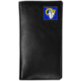 St. Louis Rams Tall Leather Wallet - Our officially licensed tall leather wallet cover is made of high quality leather with a fully cast metal St. Louis Ramsemblem with enameled team color detail. The cover fits both side and top loaded checks and includes a large zippered pocket, windowed ID slot, numerous credit card slots and billfold pocket. Officially licensed NFL product Licensee: Siskiyou Buckle .com