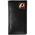 Washington Redskins Tall Leather Wallet - Our officially licensed tall leather wallet cover is made of high quality leather with a fully cast metal Washington Redskinsemblem with enameled team color detail. The cover fits both side and top loaded checks and includes a large zippered pocket, windowed ID slot, numerous credit card slots and billfold pocket. Officially licensed NFL product Licensee: Siskiyou Buckle Thank you for visiting CrazedOutSports.com