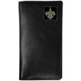 New Orleans Saints Tall Leather Wallet - Our officially licensed tall leather wallet cover is made of high quality leather with a fully cast metal New Orleans Saintsemblem with enameled team color detail. The cover fits both side and top loaded checks and includes a large zippered pocket, windowed ID slot, numerous credit card slots and billfold pocket. Officially licensed NFL product Licensee: Siskiyou Buckle .com