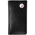 Pittsburgh Steelers Tall Leather Wallet - Our officially licensed tall leather wallet cover is made of high quality leather with a fully cast metal Pittsburgh Steelersemblem with enameled team color detail. The cover fits both side and top loaded checks and includes a large zippered pocket, windowed ID slot, numerous credit card slots and billfold pocket. Officially licensed NFL product Licensee: Siskiyou Buckle .com