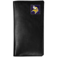 Minnesota Vikings Tall Leather Wallet - Our officially licensed tall leather wallet cover is made of high quality leather with a fully cast metal Minnesota Vikingsemblem with enameled team color detail. The cover fits both side and top loaded checks and includes a large zippered pocket, windowed ID slot, numerous credit card slots and billfold pocket. Officially licensed NFL product Licensee: Siskiyou Buckle .com