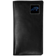 Carolina Panthers Tall Leather Wallet - Our officially licensed tall leather wallet cover is made of high quality leather with a fully cast metal Carolina Panthersemblem with enameled team color detail. The cover fits both side and top loaded checks and includes a large zippered pocket, windowed ID slot, numerous credit card slots and billfold pocket. Officially licensed NFL product Licensee: Siskiyou Buckle Thank you for visiting CrazedOutSports.com