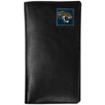 Jacksonville Jaguars Tall Leather Wallet - Our officially licensed tall leather wallet cover is made of high quality leather with a fully cast metal Jacksonville Jaguarsemblem with enameled team color detail. The cover fits both side and top loaded checks and includes a large zippered pocket, windowed ID slot, numerous credit card slots and billfold pocket. Officially licensed NFL product Licensee: Siskiyou Buckle Thank you for visiting CrazedOutSports.com