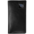 Tennessee Titans Tall Leather Wallet - Our officially licensed tall leather wallet cover is made of high quality leather with a fully cast metal Tennessee Titansemblem with enameled team color detail. The cover fits both side and top loaded checks and includes a large zippered pocket, windowed ID slot, numerous credit card slots and billfold pocket. Officially licensed NFL product Licensee: Siskiyou Buckle .com