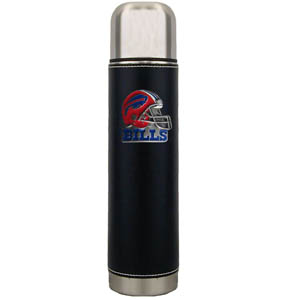 "Buffalo Bills Thermos - Our Buffalo Bills executive thermos is an attractive 11"" stainless steel vacuum bottle with black stitched comfort wrap featuring a cast and enameled team emblem. Officially licensed NFL product Licensee: Siskiyou Buckle .com"