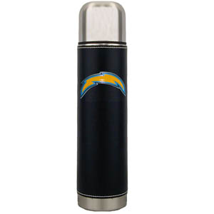 "San Diego Chargers Thermos - Our San Diego Chargers executive thermos is an attractive 11"" stainless steel vacuum bottle with black stitched comfort wrap featuring a cast and enameled team emblem. Officially licensed NFL product Licensee: Siskiyou Buckle Thank you for visiting CrazedOutSports.com"