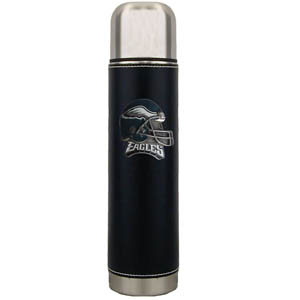 "Philadelphia Eagles Thermos - Our Philadelphia Eagles executive thermos is an attractive 11"" stainless steel vacuum bottle with black stitched comfort wrap featuring a cast and enameled team emblem. Officially licensed NFL product Licensee: Siskiyou Buckle .com"