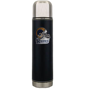 "St. Louis Rams Thermos - Our St. Louis Rams executive thermos is an attractive 11"" stainless steel vacuum bottle with black stitched comfort wrap featuring a cast and enameled team emblem. Officially licensed NFL product Licensee: Siskiyou Buckle .com"