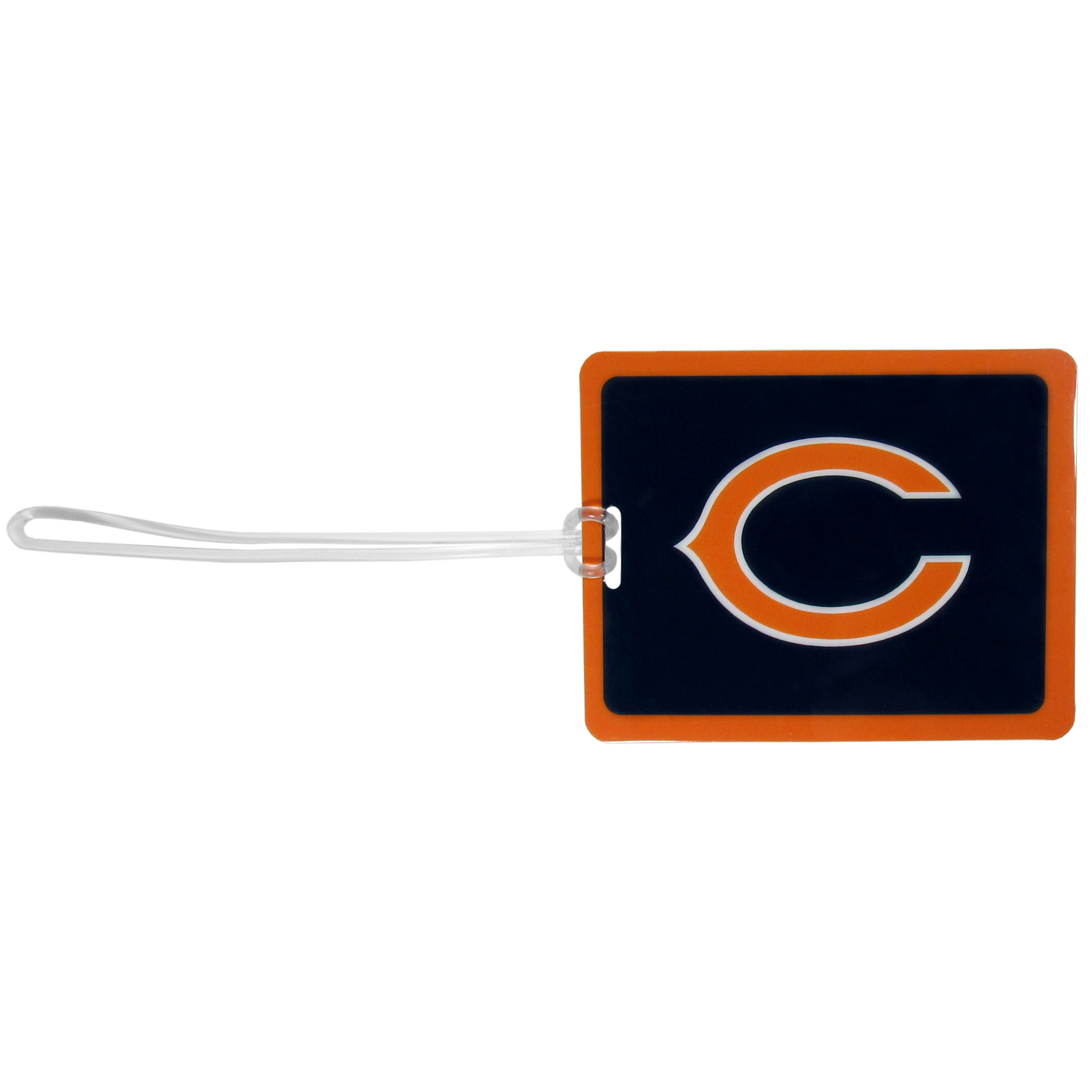 Chicago Bears Vinyl Luggage Tag - Tired of trying to spot your suitcase or bag in a sea of luggage? Try our large and colorful Chicago Bears luggage tag set. The tag is 4x3 inches and has a 5 inch cord to attach it easily to your bags, backpacks or luggage. The front of the tag features the team logo in a bright, team colored background and you can write you name, address and phone number on the back of the tag.