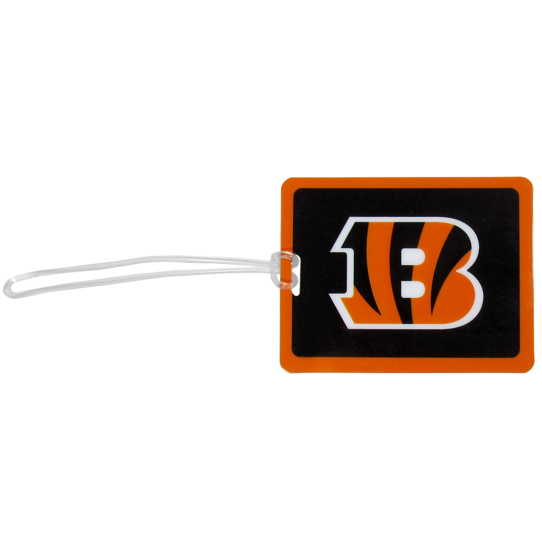 Cincinnati Bengals Vinyl Luggage Tag - Tired of trying to spot your suitcase or bag in a sea of luggage? Try our large and colorful Cincinnati Bengals luggage tag set. The tag is 4x3 inches and has a 5 inch cord to attach it easily to your bags, backpacks or luggage. The front of the tag features the team logo in a bright, team colored background and you can write you name, address and phone number on the back of the tag.