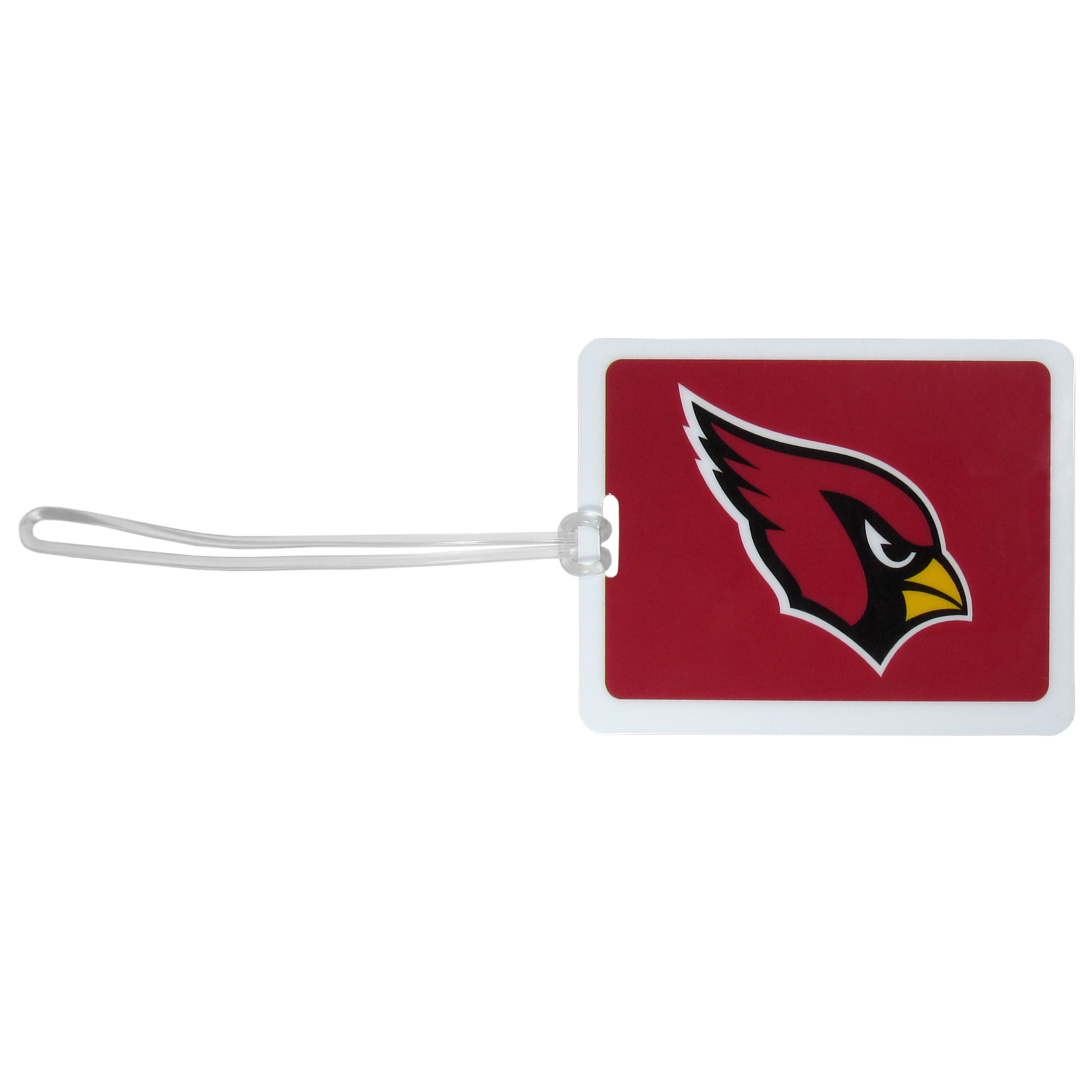Arizona Cardinals Vinyl Luggage Tag - Tired of trying to spot your suitcase or bag in a sea of luggage? Try our large and colorful Arizona Cardinals luggage tag set. The tag is 4x3 inches and has a 5 inch cord to attach it easily to your bags, backpacks or luggage. The front of the tag features the team logo in a bright, team colored background and you can write you name, address and phone number on the back of the tag.