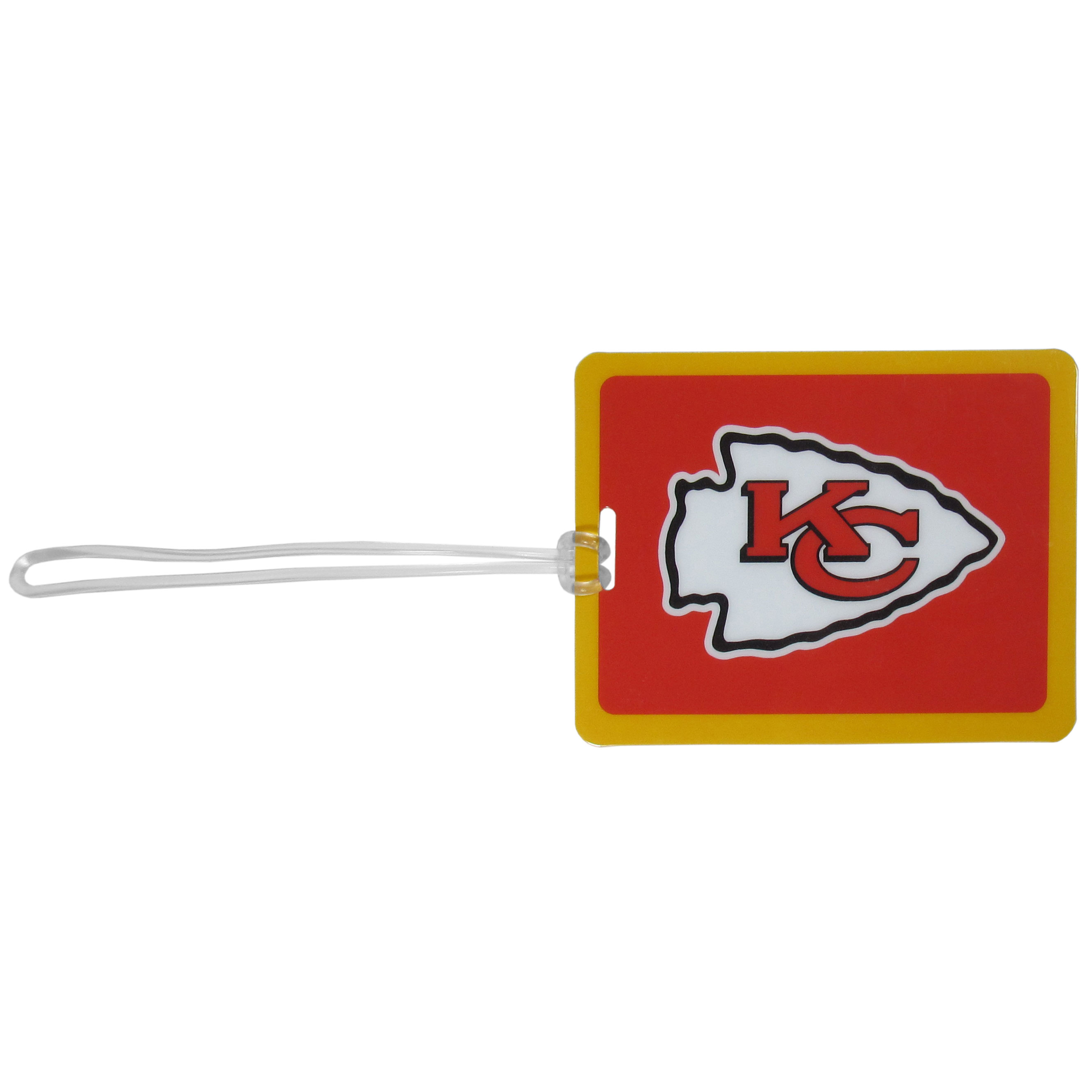 Kansas City Chiefs Vinyl Luggage Tag - Tired of trying to spot your suitcase or bag in a sea of luggage? Try our large and colorful Kansas City Chiefs luggage tag set. The tag is 4x3 inches and has a 5 inch cord to attach it easily to your bags, backpacks or luggage. The front of the tag features the team logo in a bright, team colored background and you can write you name, address and phone number on the back of the tag.
