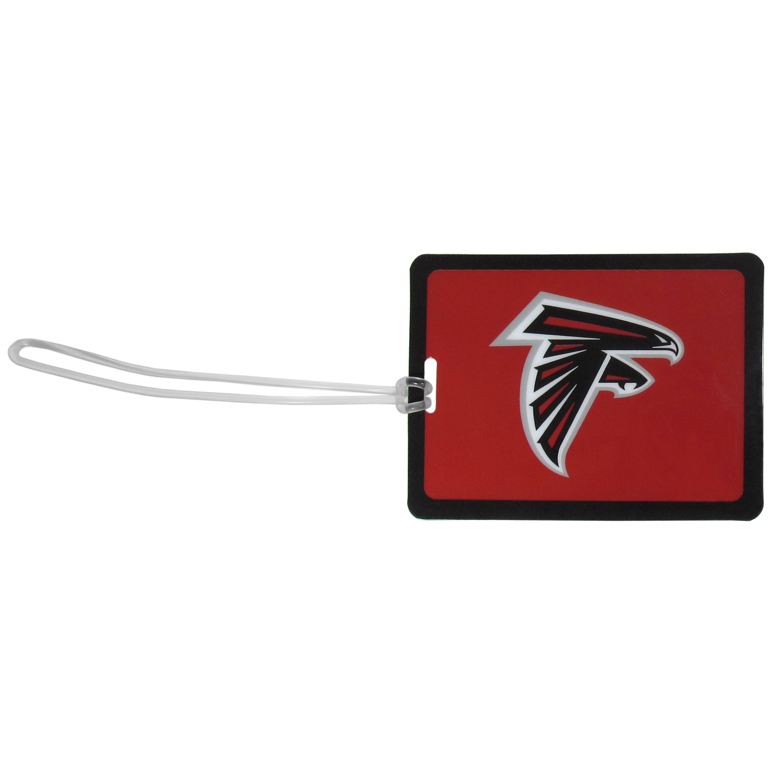 Atlanta Falcons Vinyl Luggage Tag - Tired of trying to spot your suitcase or bag in a sea of luggage? Try our large and colorful Atlanta Falcons luggage tag set. The tag is 4x3 inches and has a 5 inch cord to attach it easily to your bags, backpacks or luggage. The front of the tag features the team logo in a bright, team colored background and you can write you name, address and phone number on the back of the tag.