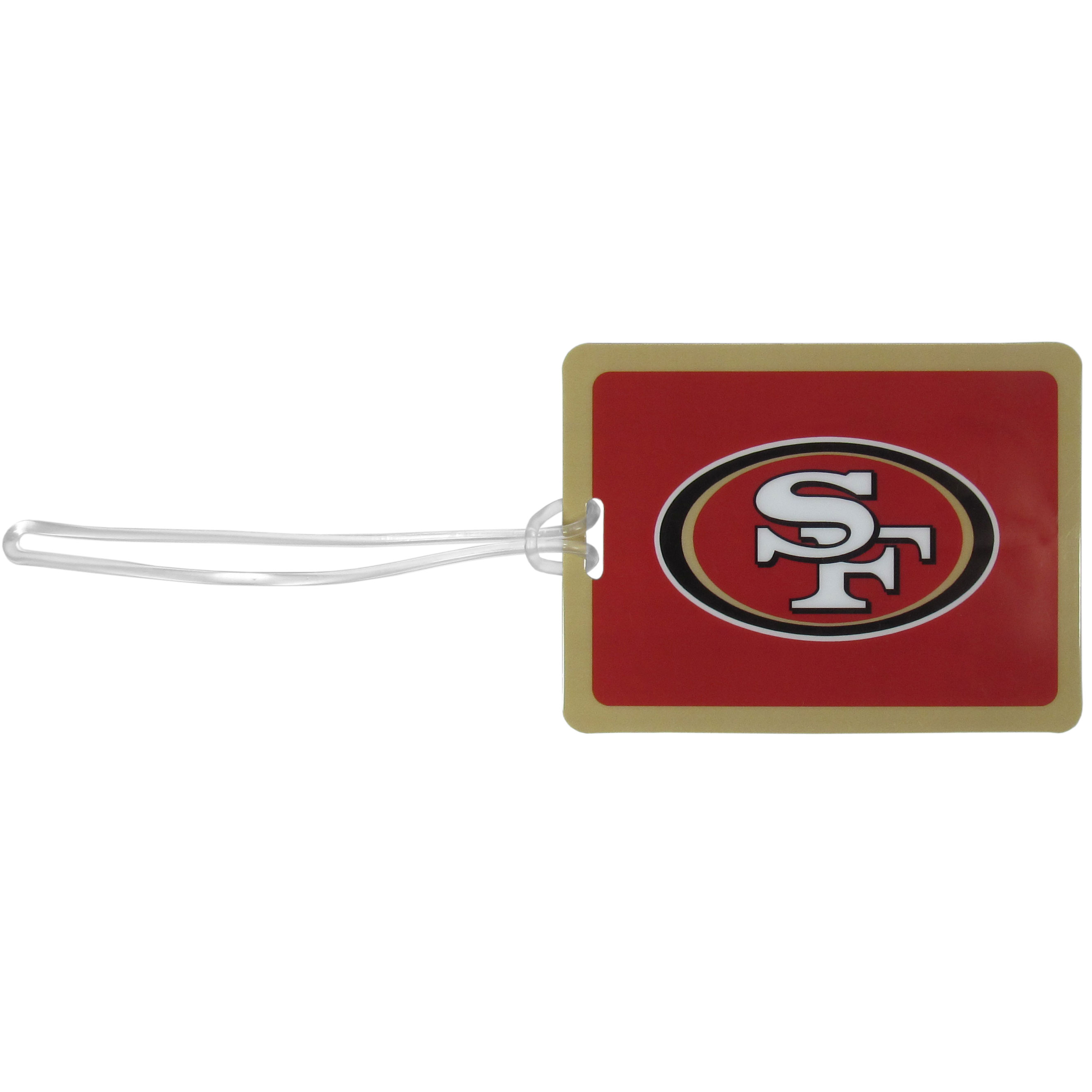 San Francisco 49ers Vinyl Luggage Tag - Tired of trying to spot your suitcase or bag in a sea of luggage? Try our large and colorful San Francisco 49ers luggage tag set. The tag is 4x3 inches and has a 5 inch cord to attach it easily to your bags, backpacks or luggage. The front of the tag features the team logo in a bright, team colored background and you can write you name, address and phone number on the back of the tag.
