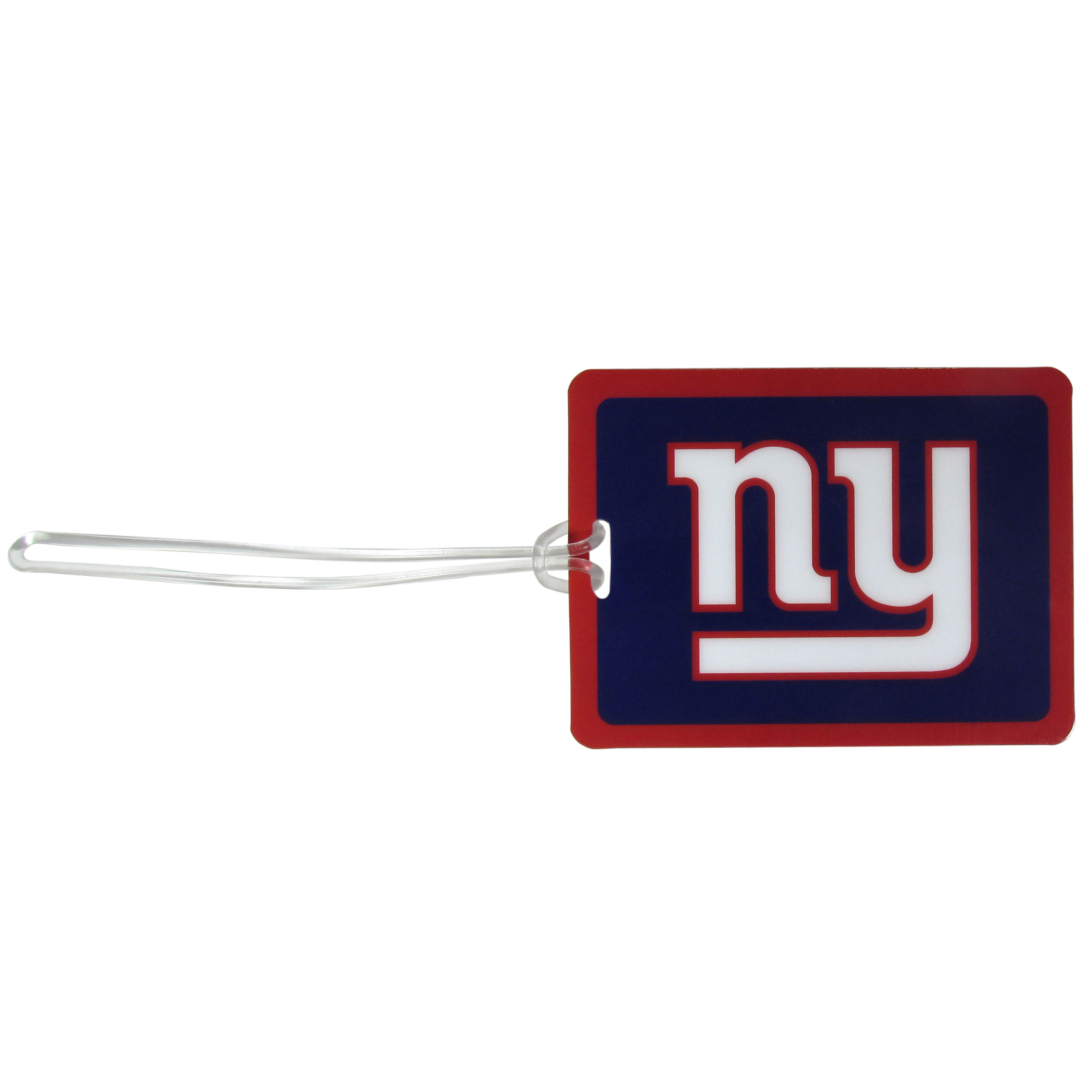 New York Giants Vinyl Luggage Tag - Tired of trying to spot your suitcase or bag in a sea of luggage? Try our large and colorful New York Giants luggage tag set. The tag is 4x3 inches and has a 5 inch cord to attach it easily to your bags, backpacks or luggage. The front of the tag features the team logo in a bright, team colored background and you can write you name, address and phone number on the back of the tag.