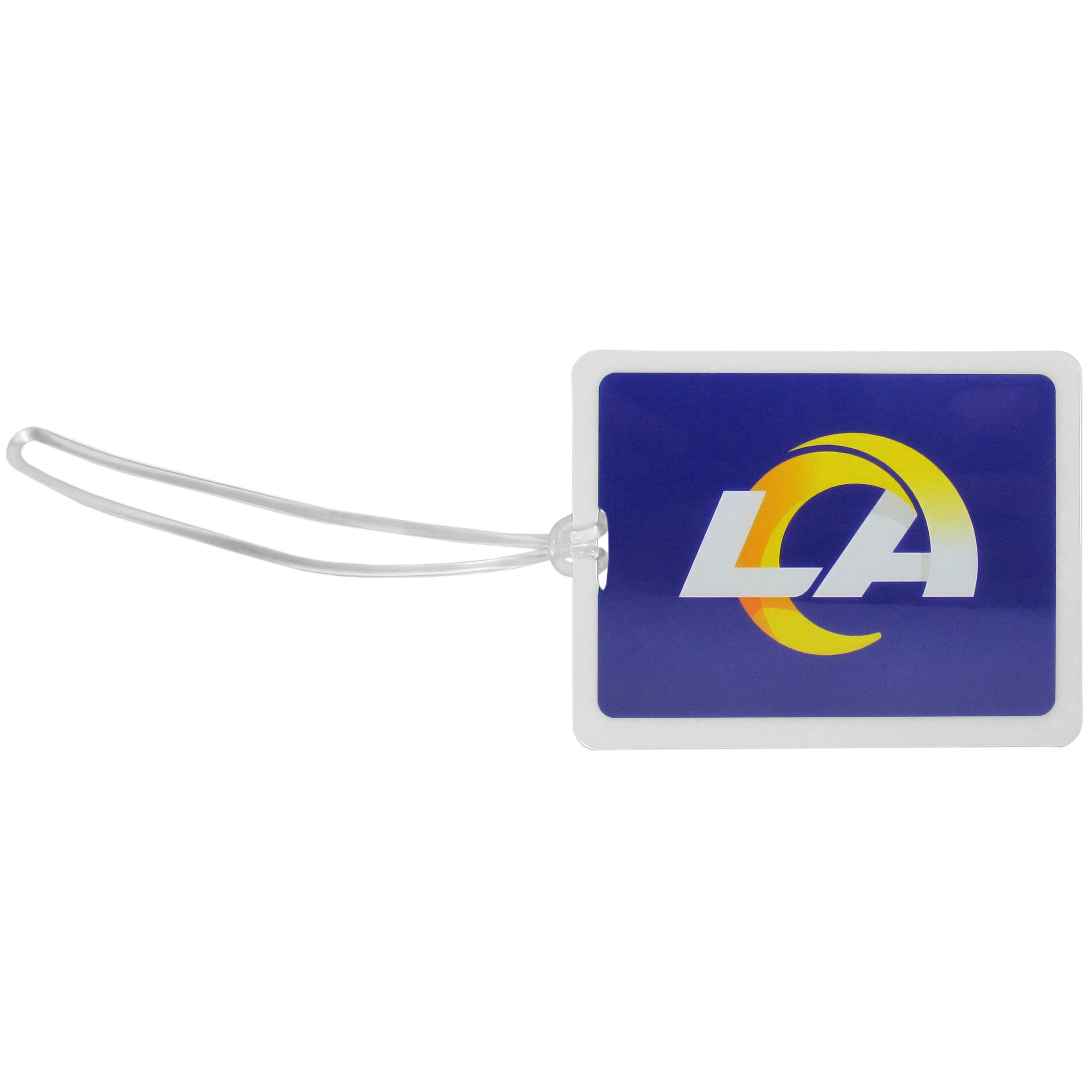Los Angeles Rams Vinyl Luggage Tag - Tired of trying to spot your suitcase or bag in a sea of luggage? Try our large and colorful Los Angeles Rams luggage tag set. The tag is 4x3 inches and has a 5 inch cord to attach it easily to your bags, backpacks or luggage. The front of the tag features the team logo in a bright, team colored background and you can write you name, address and phone number on the back of the tag.