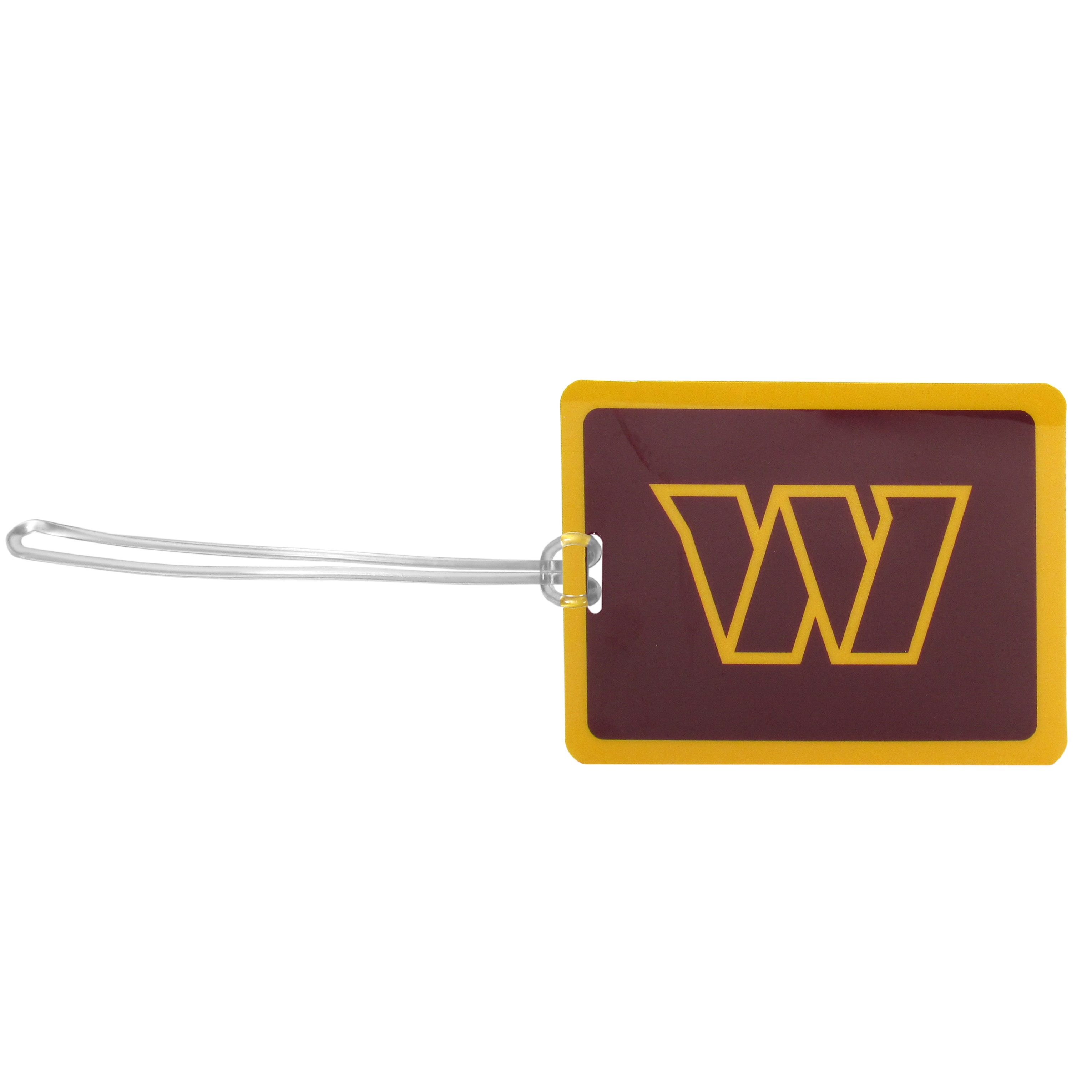 Washington Redskins Vinyl Luggage Tag - Tired of trying to spot your suitcase or bag in a sea of luggage? Try our large and colorful Washington Redskins luggage tag set. The tag is 4x3 inches and has a 5 inch cord to attach it easily to your bags, backpacks or luggage. The front of the tag features the team logo in a bright, team colored background and you can write you name, address and phone number on the back of the tag.