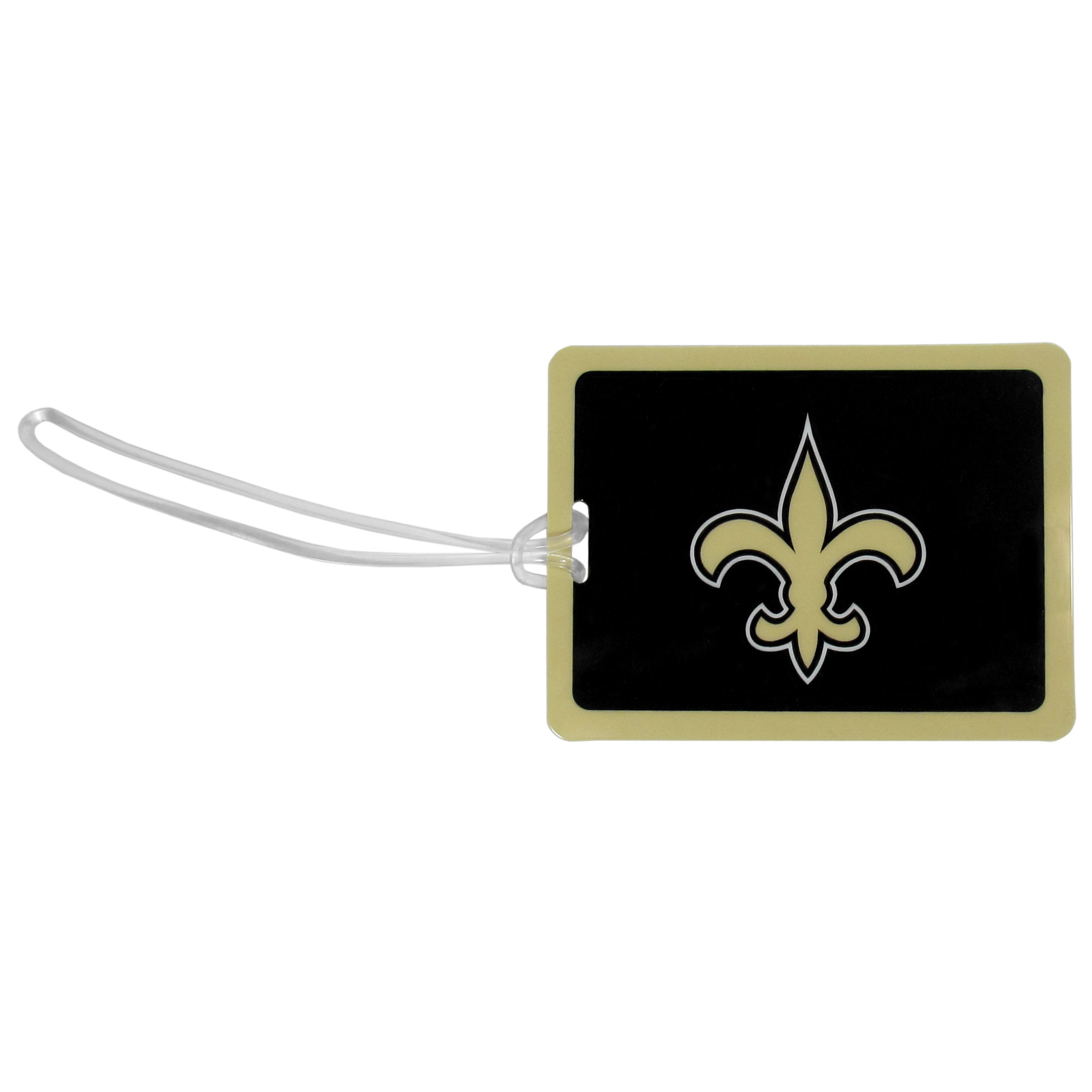 New Orleans Saints Vinyl Luggage Tag - Tired of trying to spot your suitcase or bag in a sea of luggage? Try our large and colorful New Orleans Saints luggage tag set. The tag is 4x3 inches and has a 5 inch cord to attach it easily to your bags, backpacks or luggage. The front of the tag features the team logo in a bright, team colored background and you can write you name, address and phone number on the back of the tag.