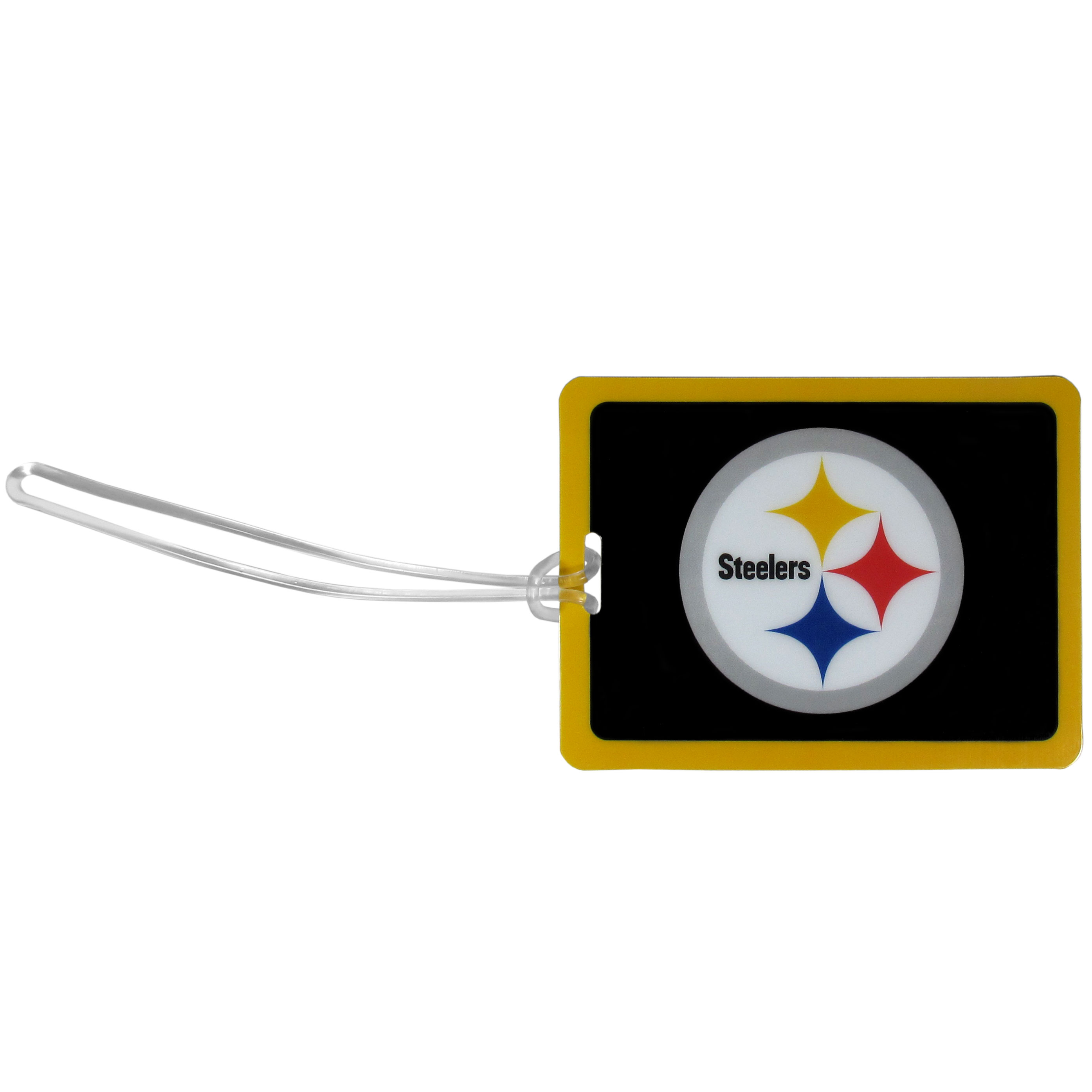 Pittsburgh Steelers Vinyl Luggage Tag - Tired of trying to spot your suitcase or bag in a sea of luggage? Try our large and colorful Pittsburgh Steelers luggage tag set. The tag is 4x3 inches and has a 5 inch cord to attach it easily to your bags, backpacks or luggage. The front of the tag features the team logo in a bright, team colored background and you can write you name, address and phone number on the back of the tag.
