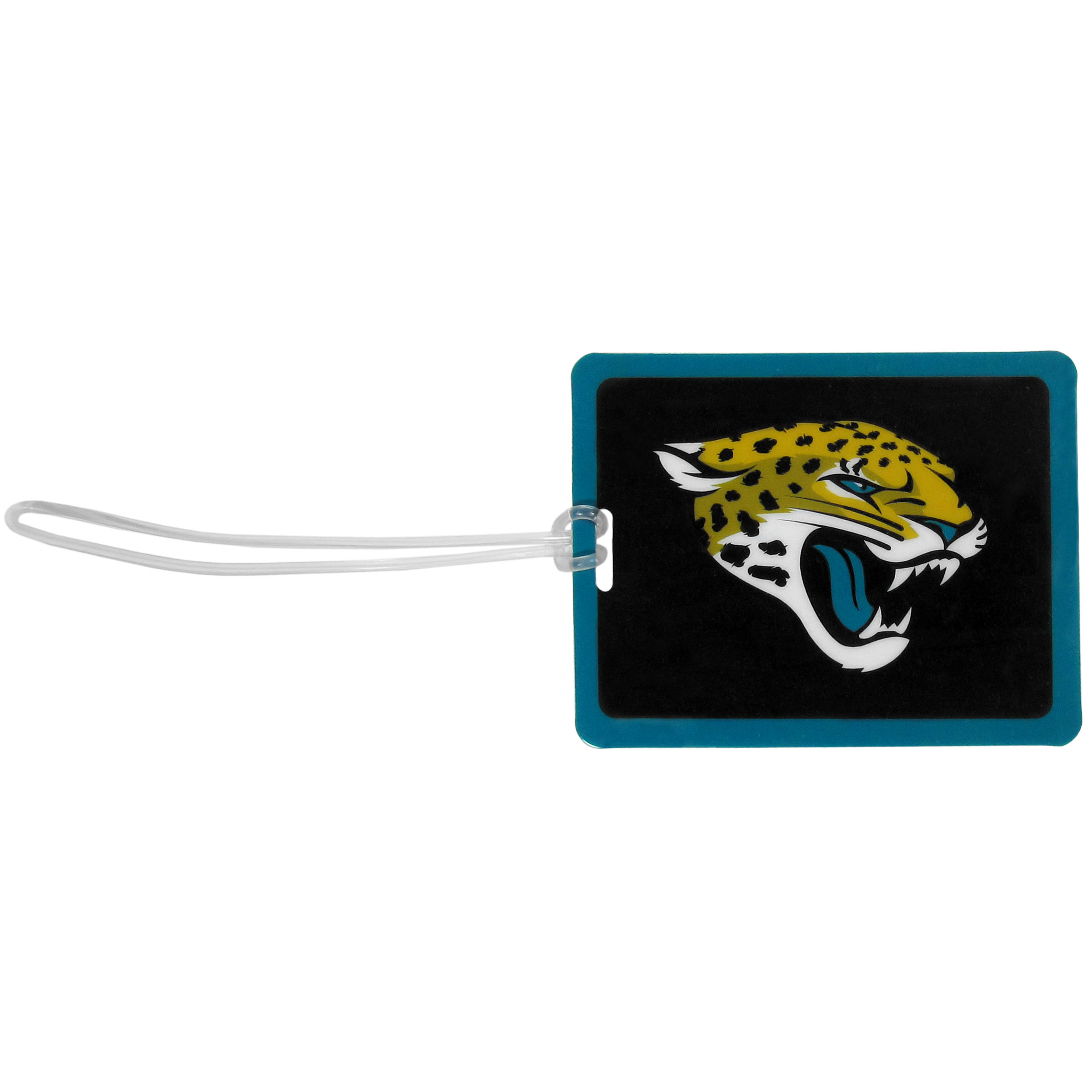 Jacksonville Jaguars Vinyl Luggage Tag - Tired of trying to spot your suitcase or bag in a sea of luggage? Try our large and colorful Jacksonville Jaguars luggage tag set. The tag is 4x3 inches and has a 5 inch cord to attach it easily to your bags, backpacks or luggage. The front of the tag features the team logo in a bright, team colored background and you can write you name, address and phone number on the back of the tag.
