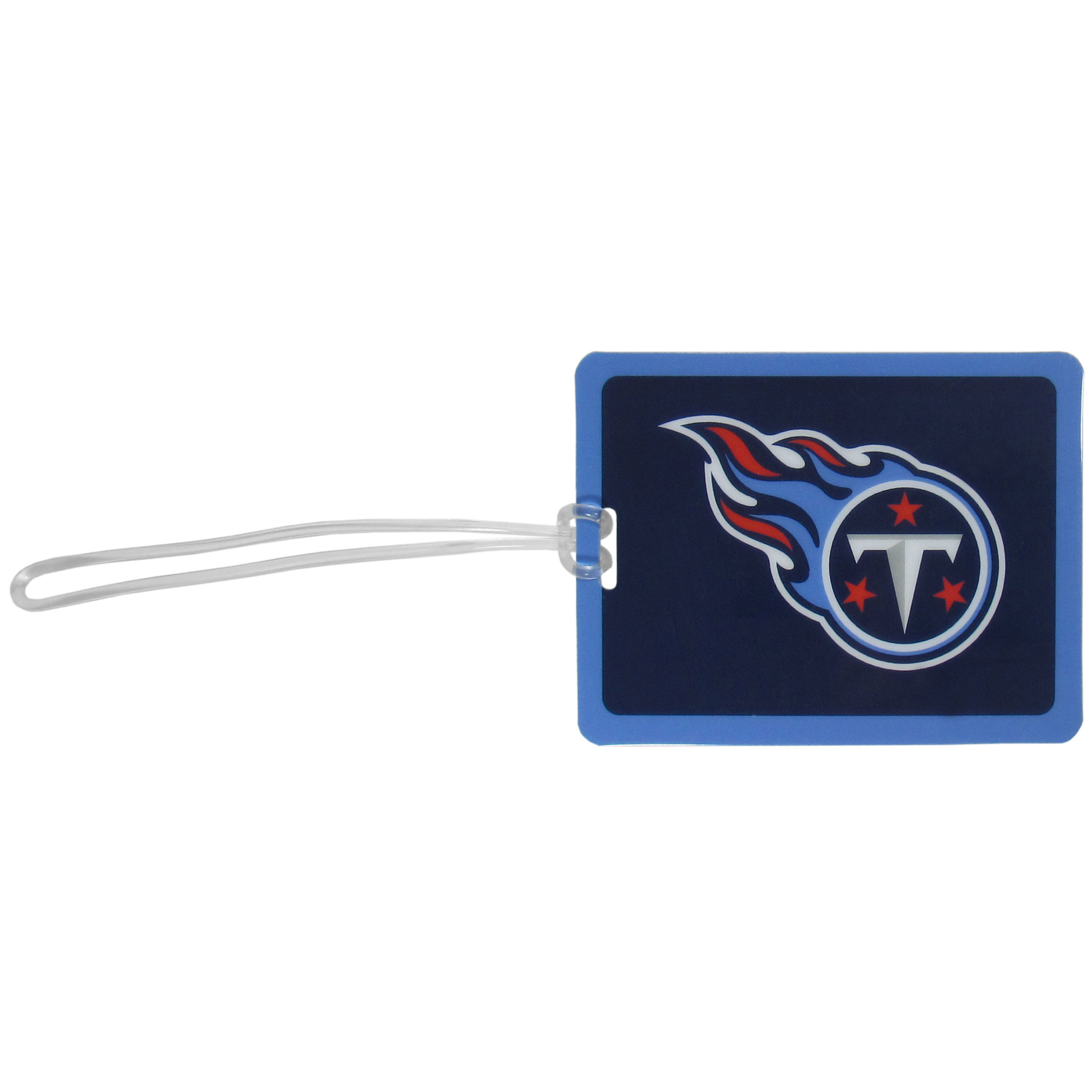 Tennessee Titans Vinyl Luggage Tag - Tired of trying to spot your suitcase or bag in a sea of luggage? Try our large and colorful Tennessee Titans luggage tag set. The tag is 4x3 inches and has a 5 inch cord to attach it easily to your bags, backpacks or luggage. The front of the tag features the team logo in a bright, team colored background and you can write you name, address and phone number on the back of the tag.
