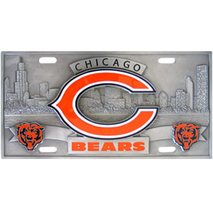 """Chicago Bears - 3D NFL License Plate - Bears three dimensional license plate. Made for your automobile but also great to display at home or work. 11 3/4"""" X 5 13/16"""" Officially licensed NFL product Licensee: Siskiyou Buckle Thank you for visiting CrazedOutSports.com"""