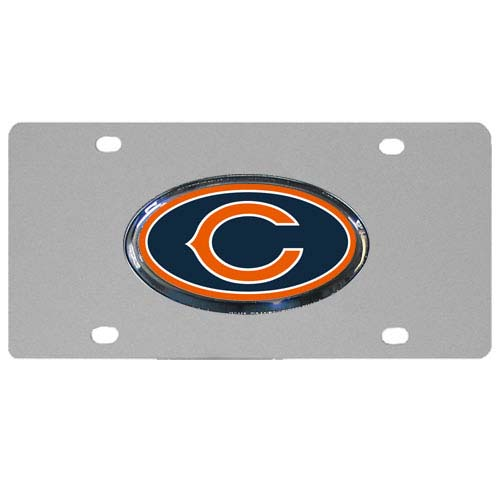 Chicago Bears Steel Plate - Accessorize your vehicle or game room with this unique NFL steel plate featuring your team's logo on a stainless steel plate.