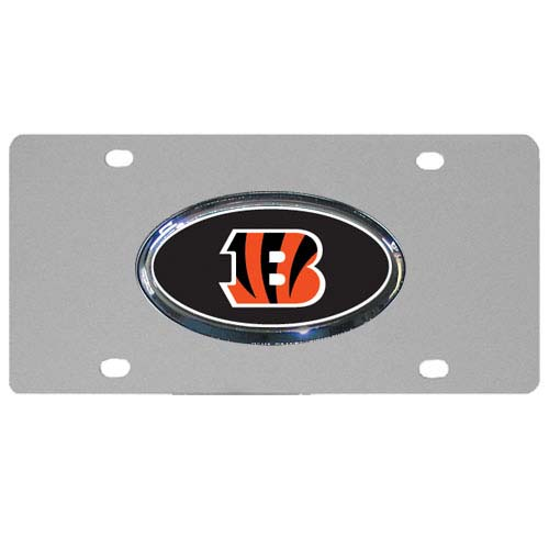 Cincinnati Bengals Steel Plate - Accessorize your vehicle or game room with this unique NFL steel plate featuring your team's logo on a stainless steel plate.